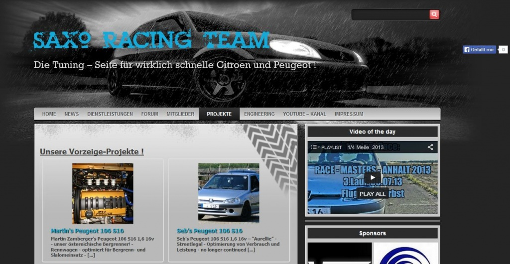 Homepage SaxoRacingTeam - Überarbeitung der Optik